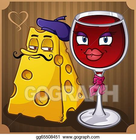Vector wine and cartoons. French clipart cheese french