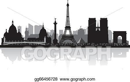 Vector art paris skyline. France clipart city france