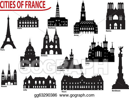 Vector illustration silhouettes of. France clipart city france