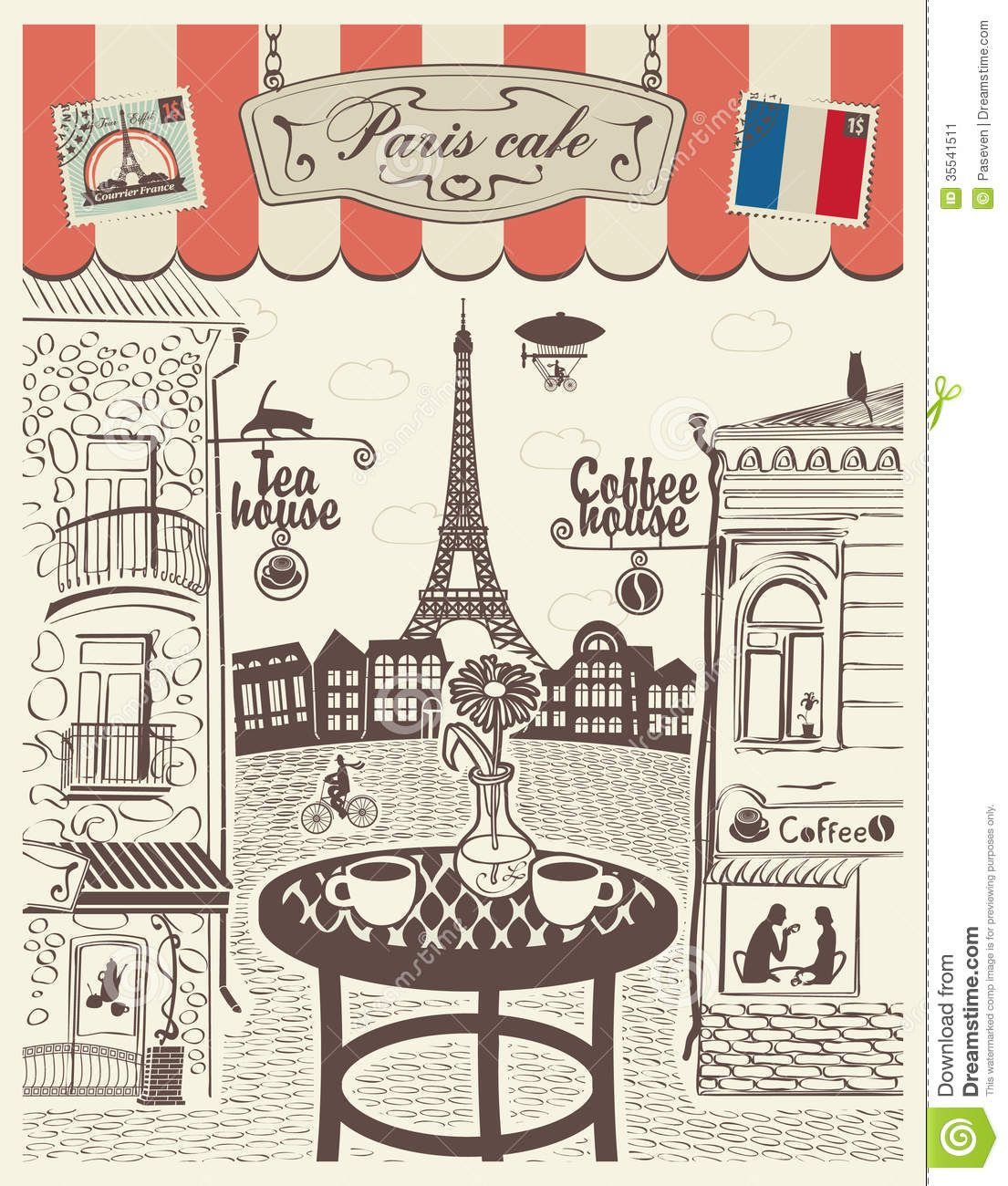 Images for cafe with. French clipart street paris