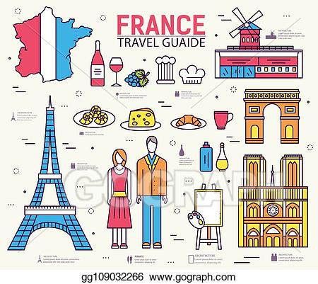 Vector art travel vacation. France clipart country france