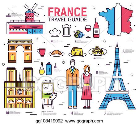 Vector illustration trip guide. France clipart country france