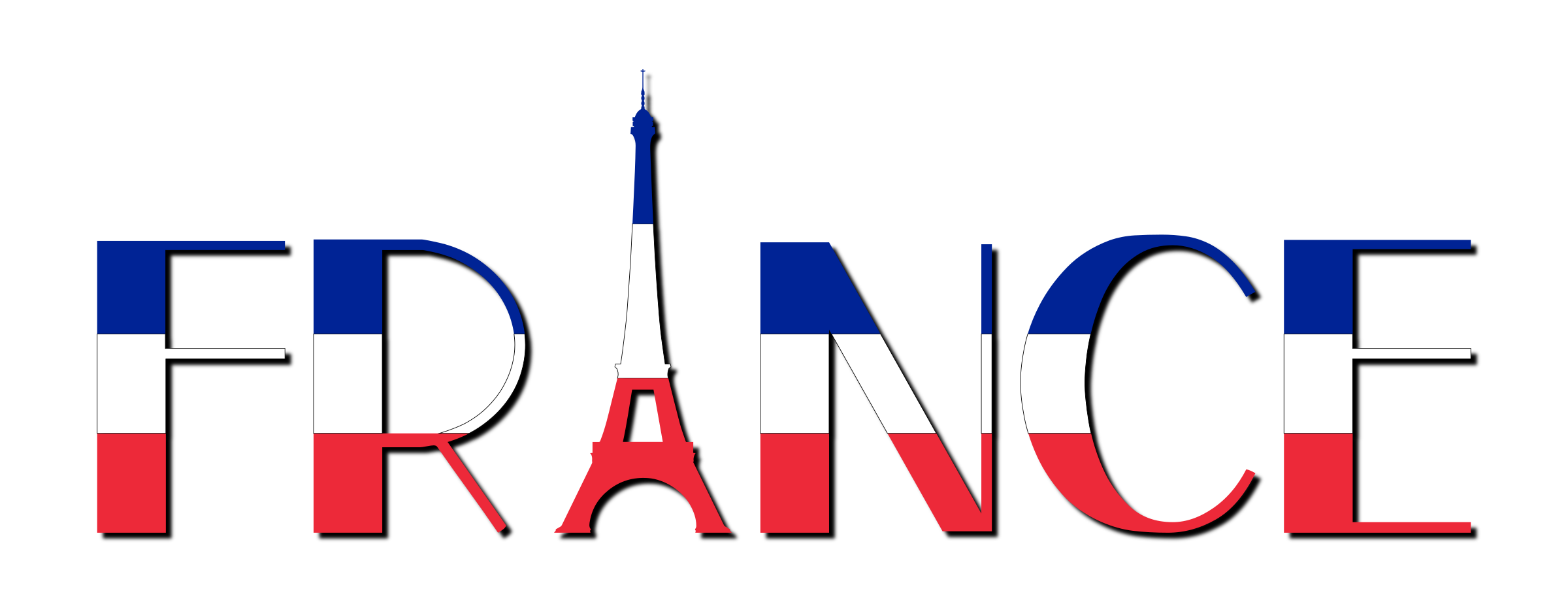 France typography with shadow. French clipart icon