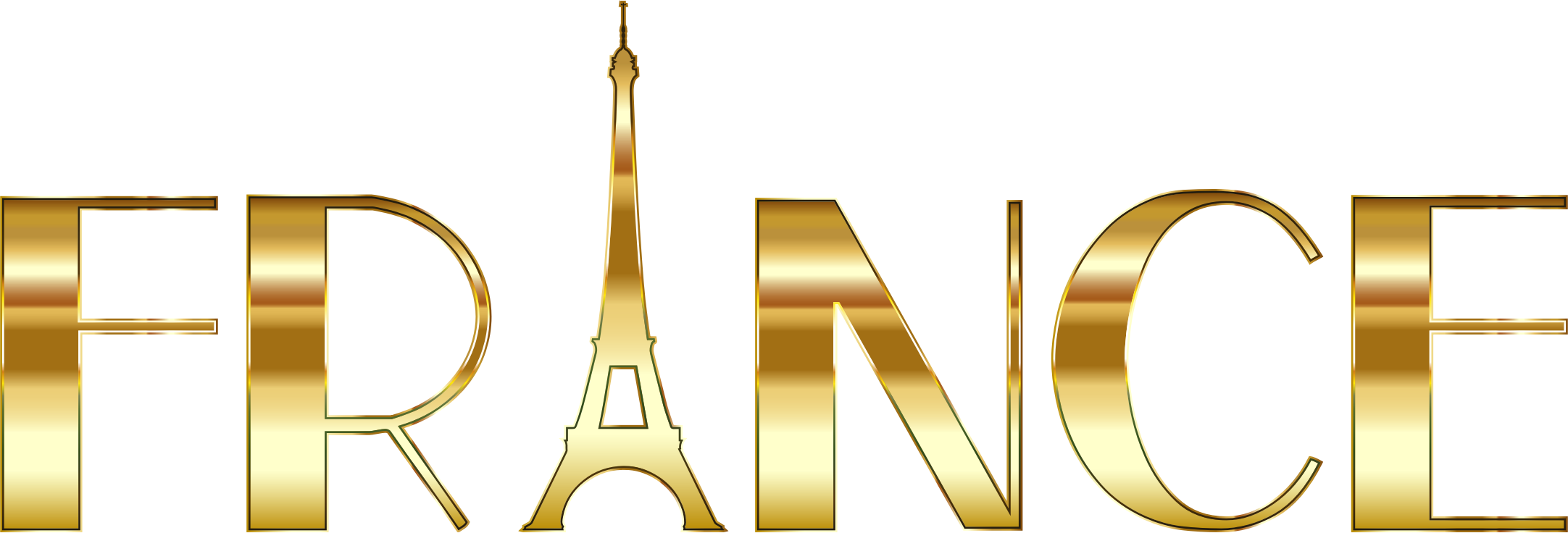 France typography gold big. Words clipart computer