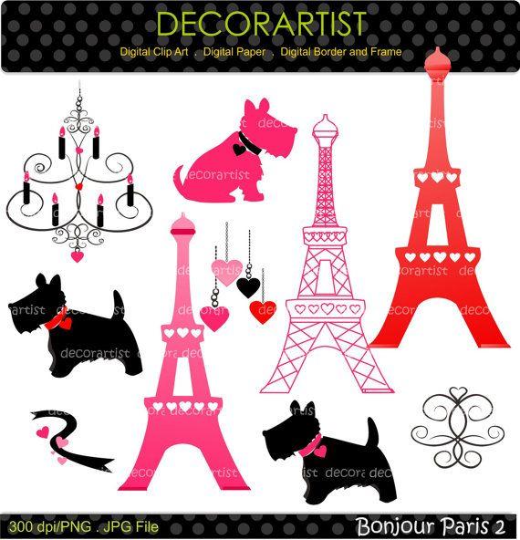 Paris clipart dog paris. Eiffel digital clip art