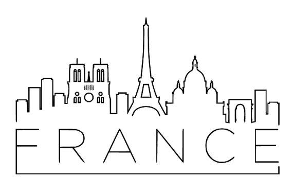 French clipart simple. France skyline vinyl wall