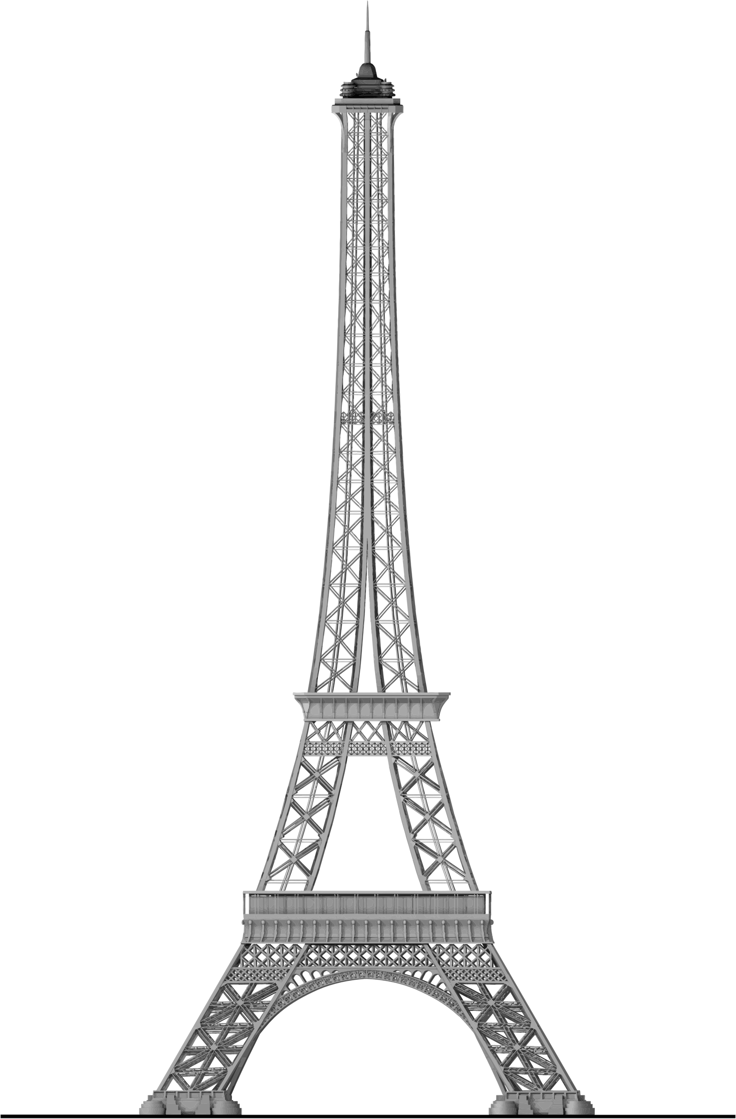 Detailed trace big image. French clipart sketch eiffel tower