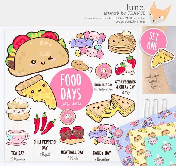 for cute kawaii. France clipart food