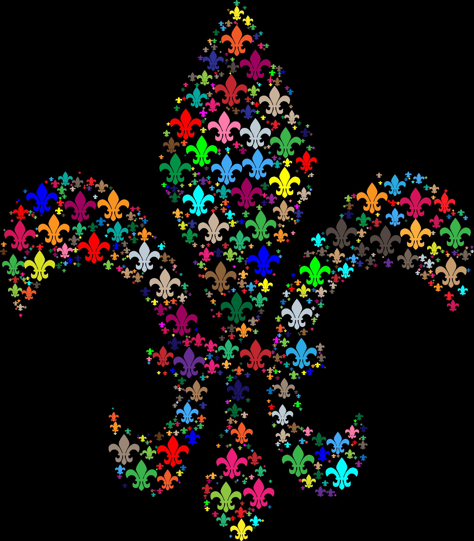 Colorful fleur de lis. France clipart fractal