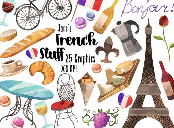 France clipart french item. Watercolor items download instant