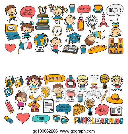 Clip art vector paris. France clipart french school