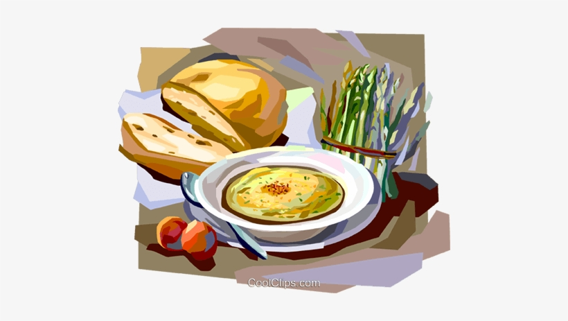 France clipart fresh bread. French lunch with soup
