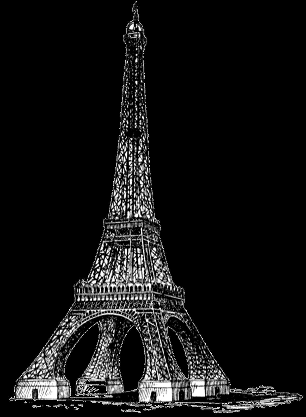 Eiffel tower bw full. France clipart paris vintage