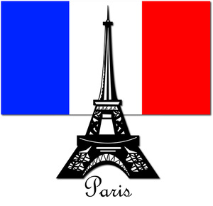 The eiffel tower in. France clipart red