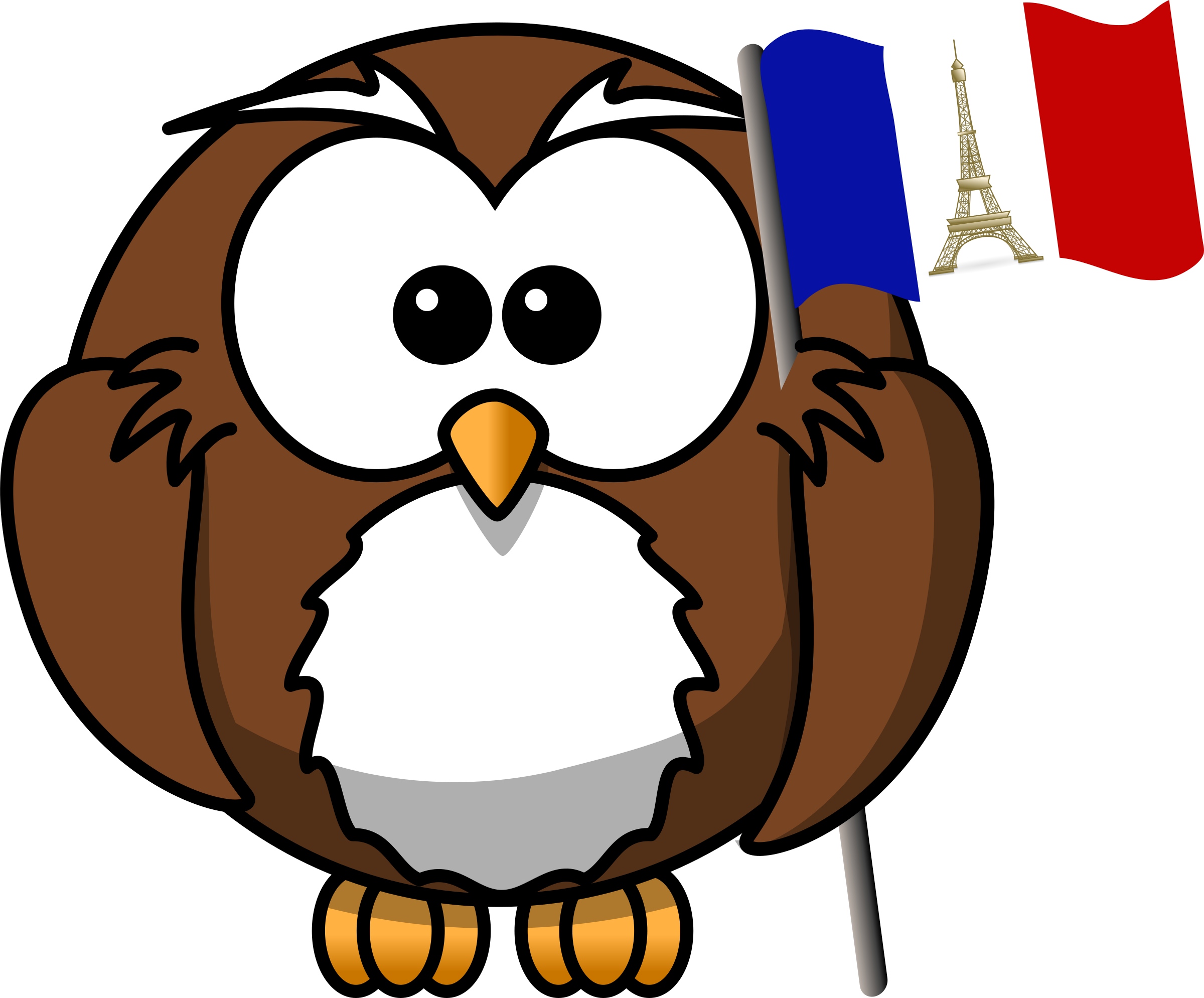Owl with french flag. France clipart small