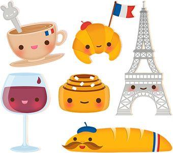 French kawaii in cute. France clipart stuff