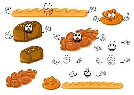 Cartoon fresh french baguette. France clipart sweet bread