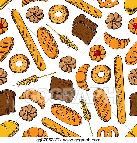 Clip art vector pastry. France clipart sweet bread
