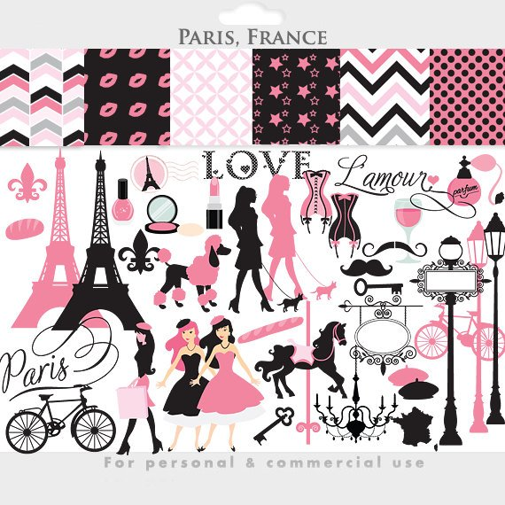 Paris eiffel tower pink. France clipart theme french