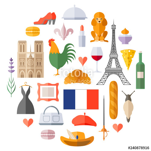 Traditional symbol in flat. France clipart theme french