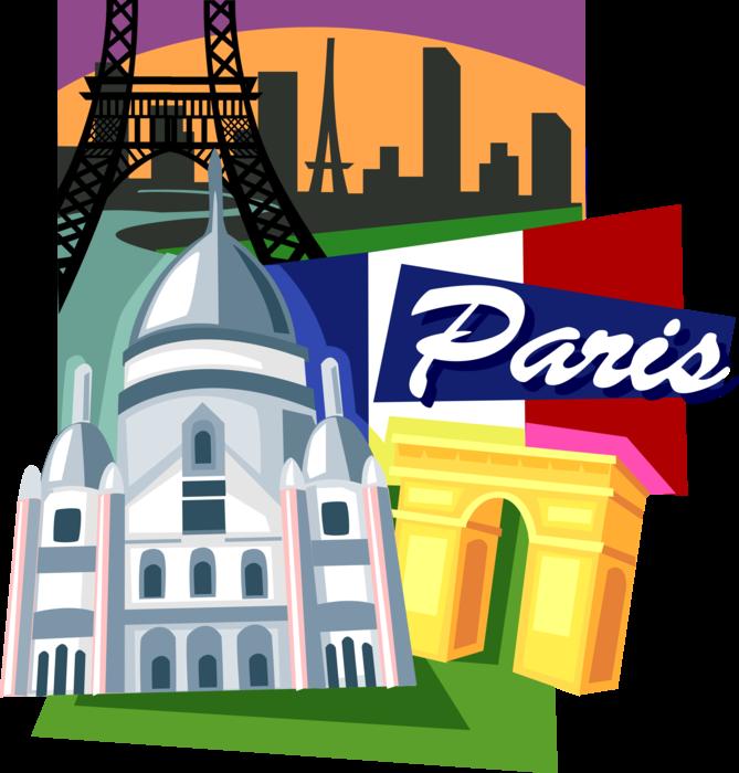 France clipart tourism france. Landmarks of paris vector