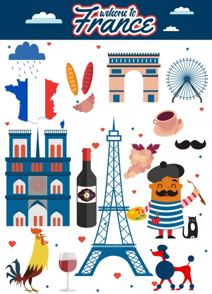 Advertisement multicolored symbols decoration. France clipart tourism france