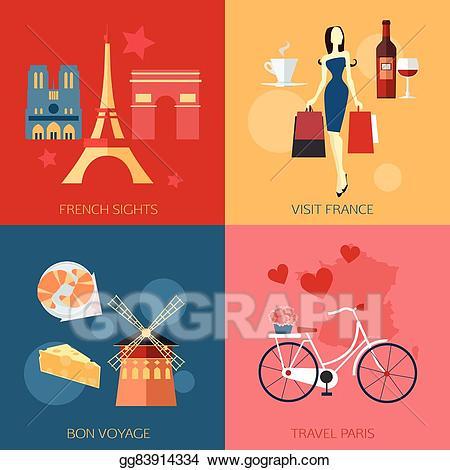 Eps vector set of. France clipart travel