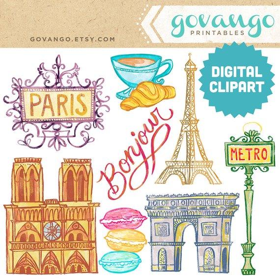 France clipart travel. Paris digital instant download