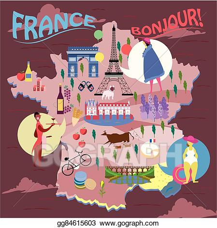 France clipart travel. Vector art map drawing