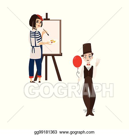 Vector stock french characters. France clipart typical
