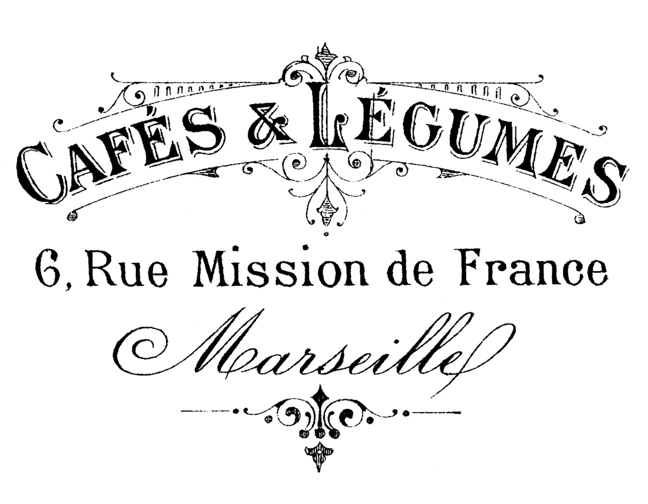 French clipart typography. Transfer printable marseille the