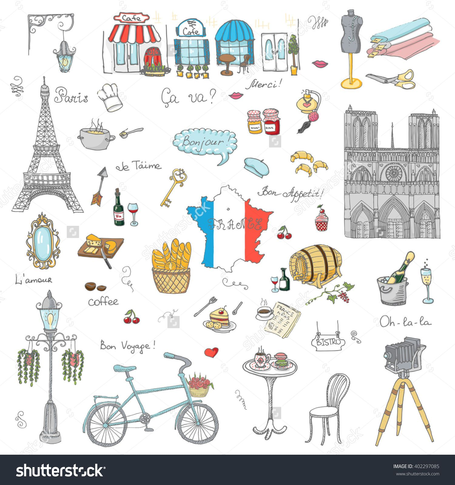 French clipart simple. Set of hand drawn