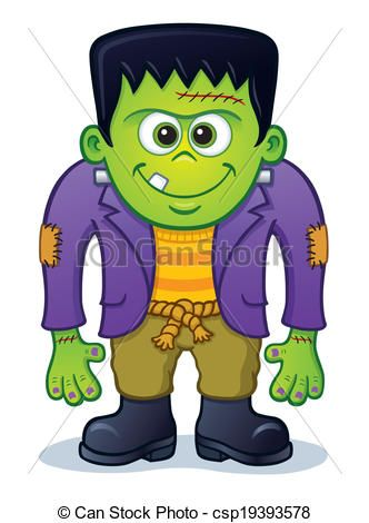 Cute halloween monster clip. Frankenstein clipart