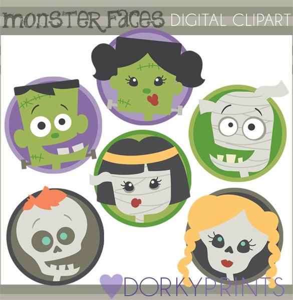 Frankenstein clipart classic monster. Faces halloween watercolor and