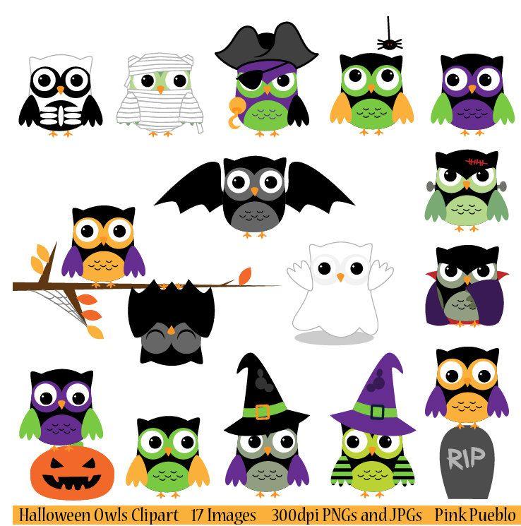 Frankenstein clipart cute halloween bat. Owls clip art includes