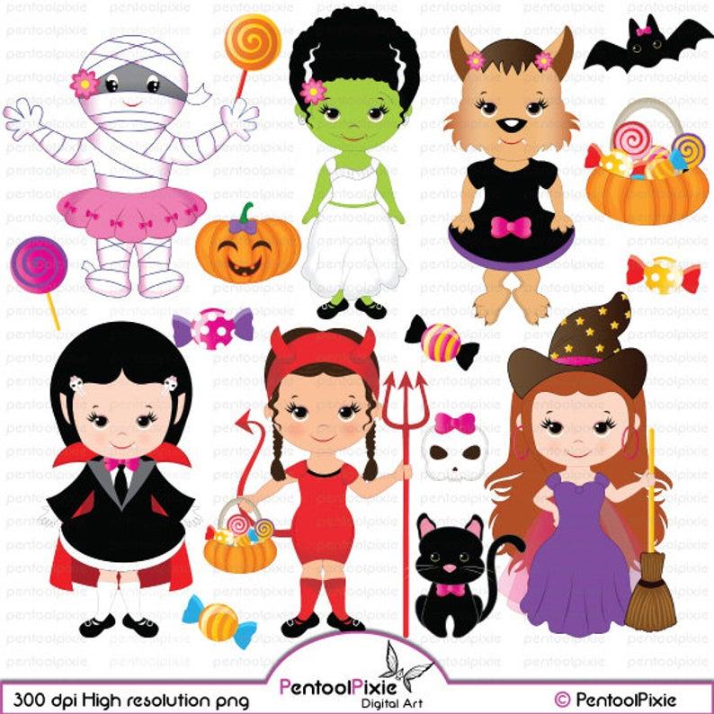 Halloween girls witch girl. Frankenstein clipart cute happy