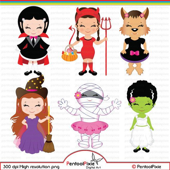 Frankenstein clipart cute happy. Halloween girls witch girl