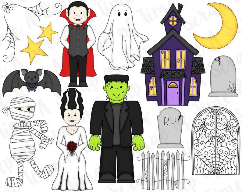 Frankenstein clipart dracula. Halloween digital set of