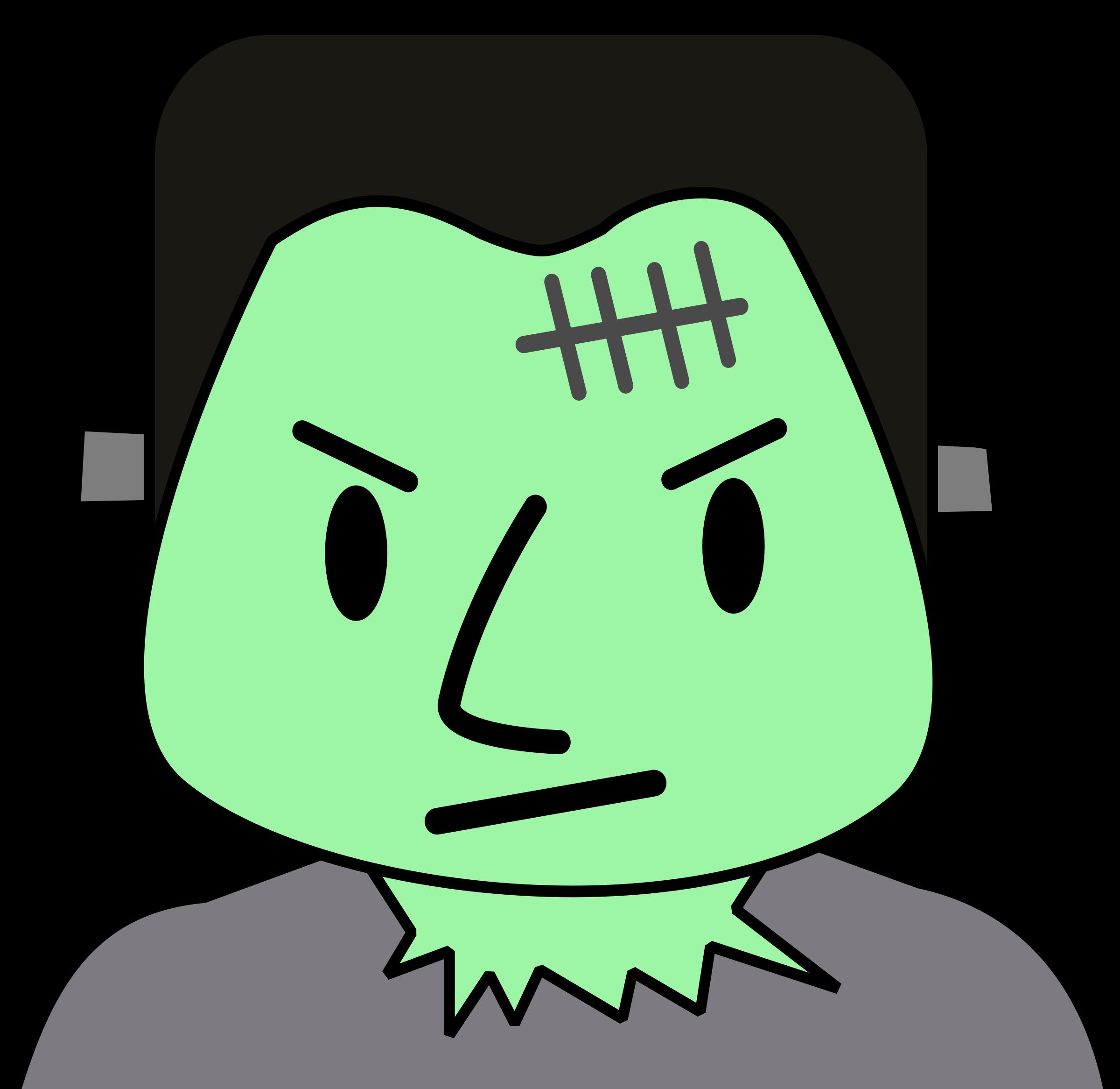 Monster guy big image. Frankenstein clipart green