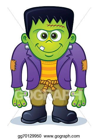Frankenstein clipart green. Cute monster stock illustration