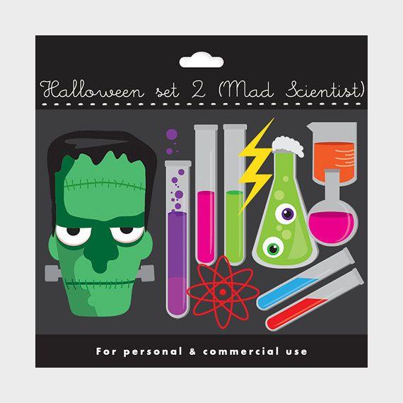 Frankenstein clipart lab. Halloween set mad scientist