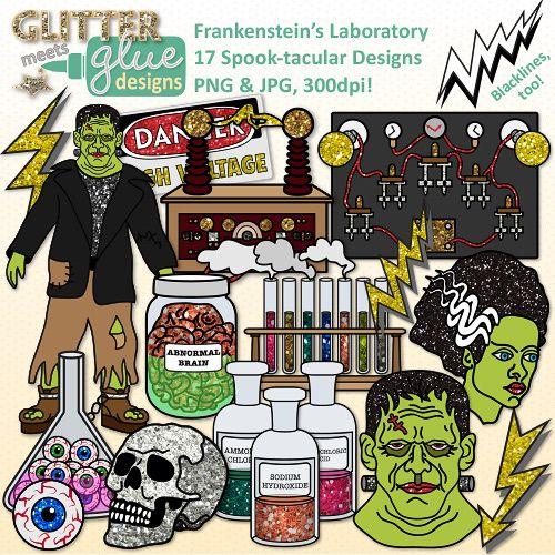 Frankenstein clipart lab. Halloween clip art spooky