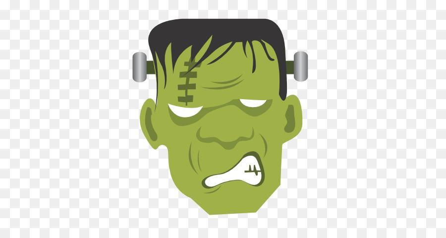 Cartoon green yellow . Frankenstein clipart monster