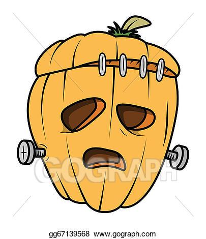 Vector stock halloween . Frankenstein clipart pumpkin