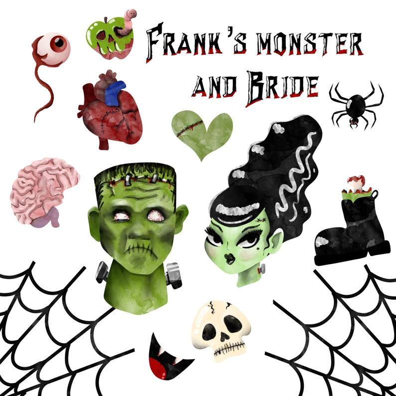 Halloween costume spooky witch. Frankenstein clipart scary