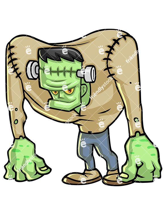 Frankenstein clipart themed. Monster zombie hunched over