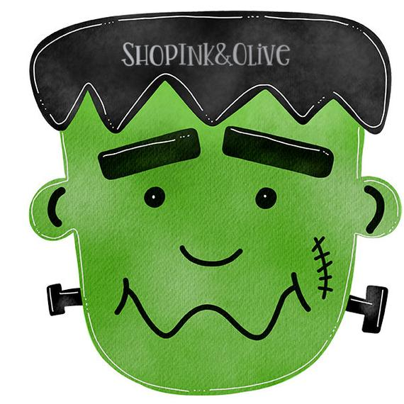 Frankenstein clipart vintage. Watercolor png halloween digital