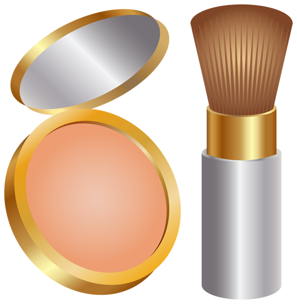 Face powder and brush. Skin clipart clip art