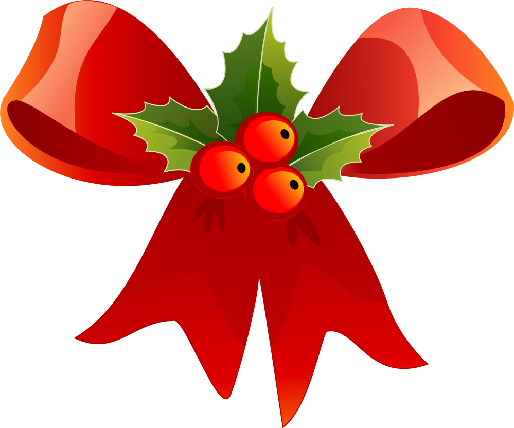 Christmas red and holly. Potato clipart bow