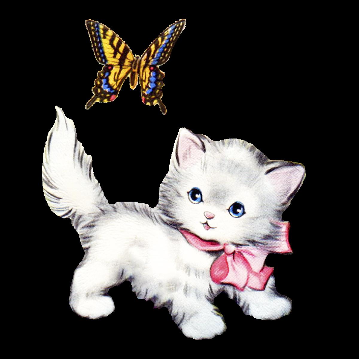 Free clipart kitten. Vintage clip art alternative